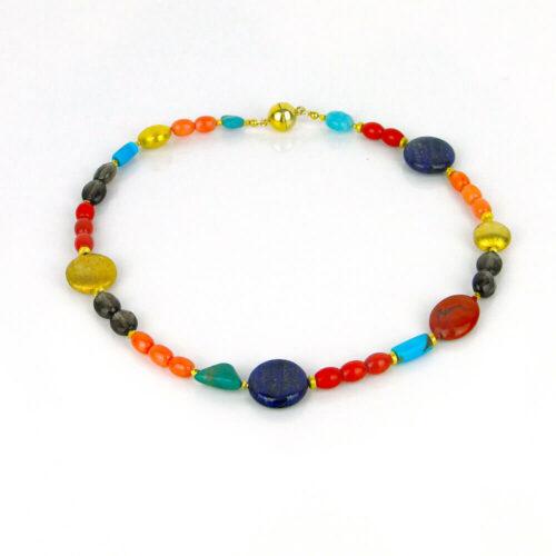 Edelstein Halskette Lapis-Lazuli und Koralle