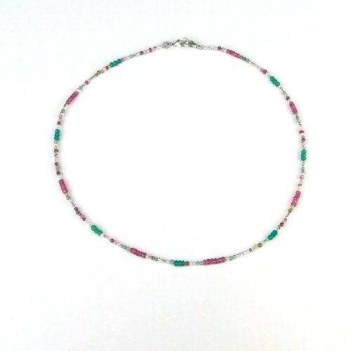 Maskenkette Halskette Edelstein Perlen